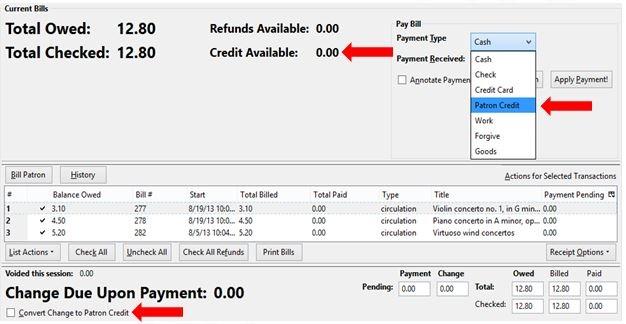 Default Patron Billing Screen
