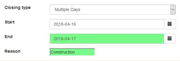 Create Closing for Multiple Days