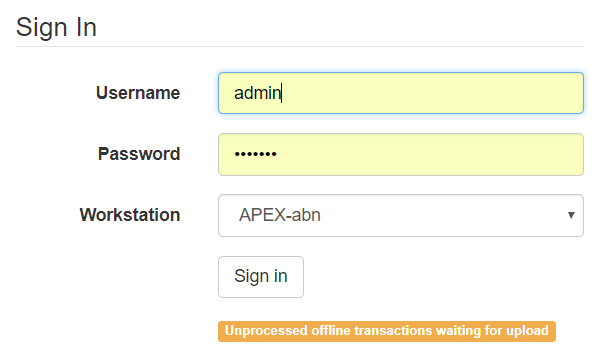 Login alert about unprocessed transactions
