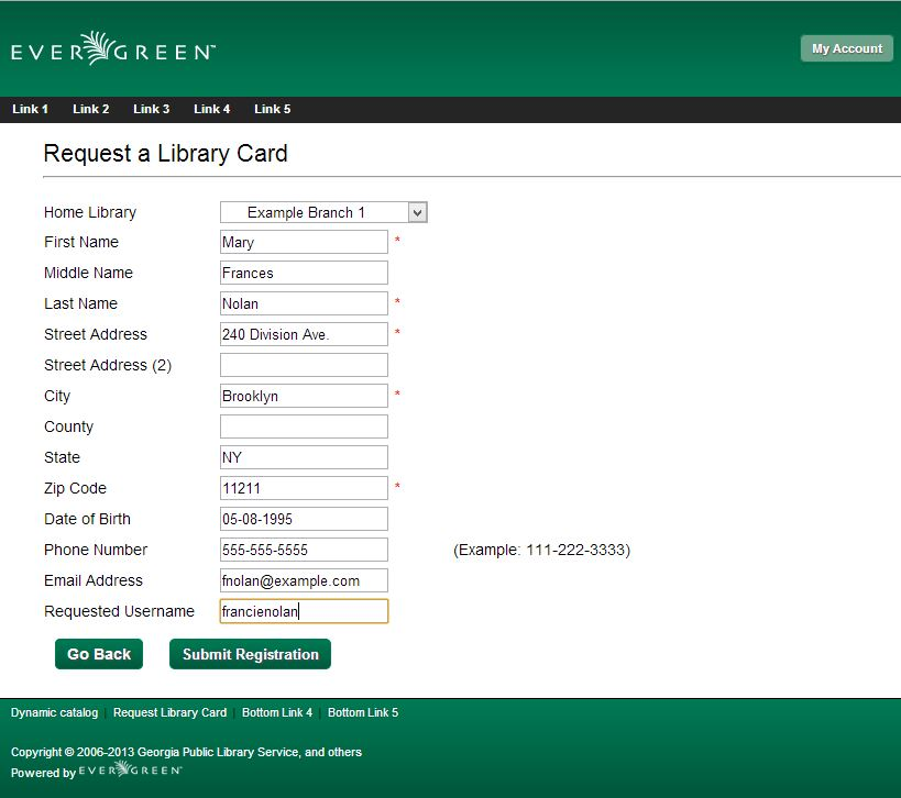 Patron Self-Registration form